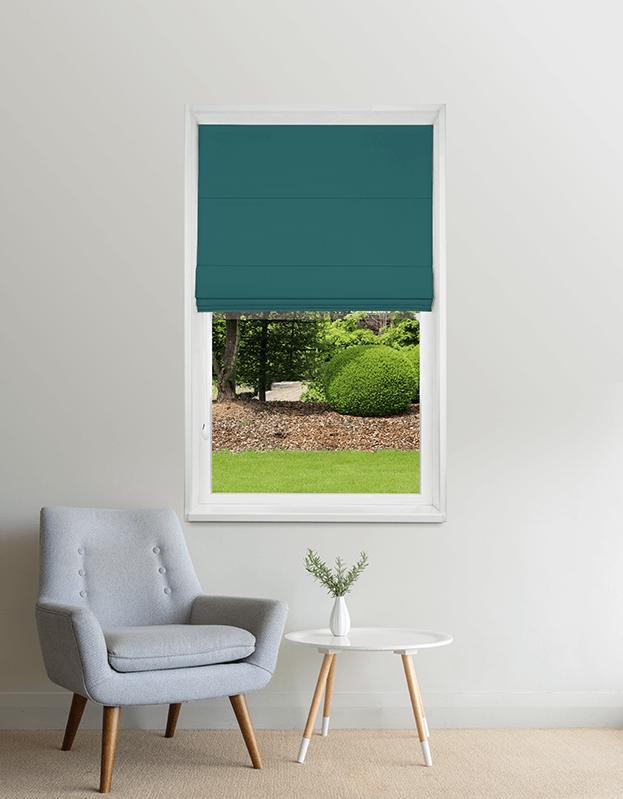 Turquoise verduisterend vouwgordijn